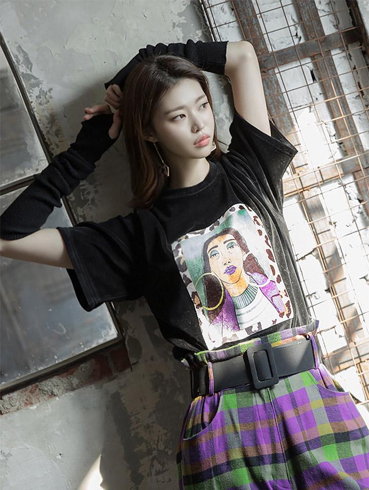 E1844 少女豹纹图案T恤