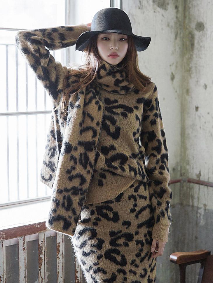 E1846豹纹图案针织衫胸胸