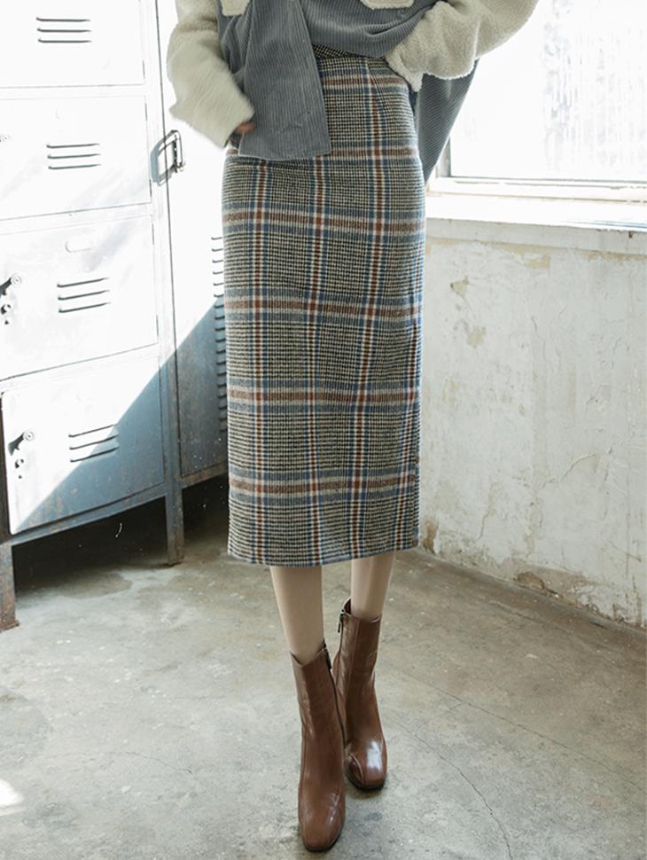 SK1808 格纹溷羊毛铅笔裙