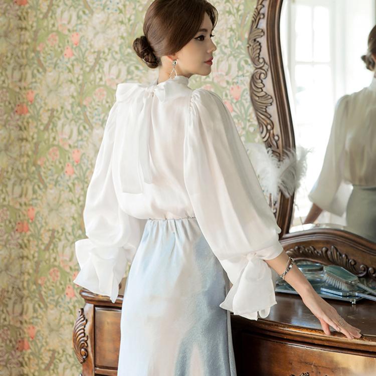 B2351 Lumiere天使蝴蝶结女衬衫(三阶重新库存)