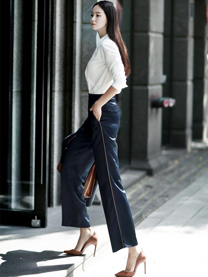 P1546线条色色沙田宽松长裤*酒色*