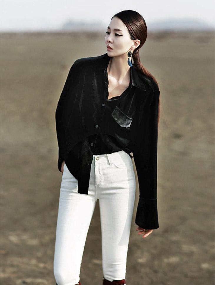 B1883基本口袋丝绒女衬衫(73号重新库存)