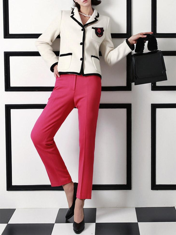P1598 Moderne捏褶宽松长裤*蓝绿色,象牙色*