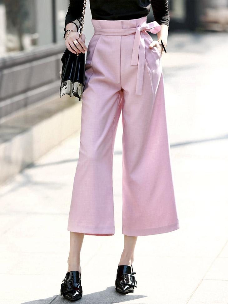 P1643 Ethyl宽松长裤(腰带套)*象牙色*