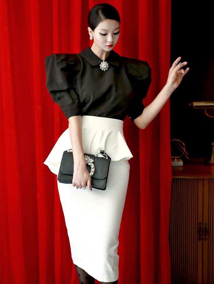 B2080 Rivers珠宝首饰泡泡袖女衬衫(8th re-stock)