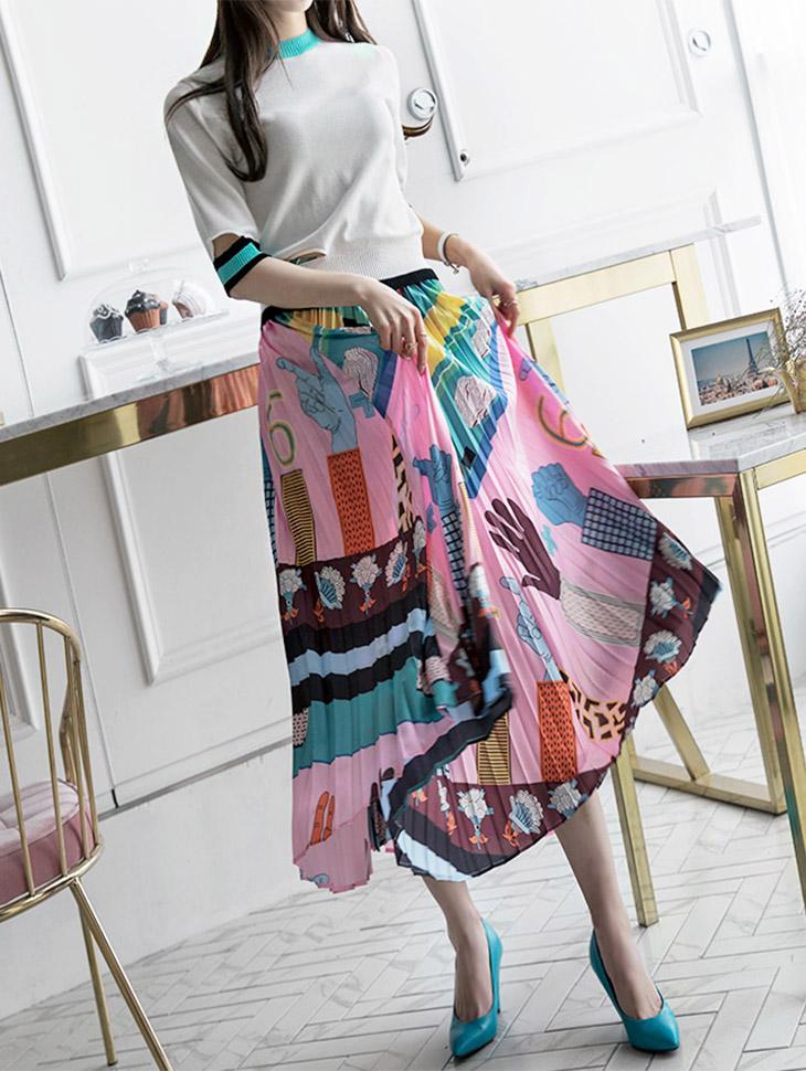 SK1666 插画百褶长版半身裙 (第8次进货)