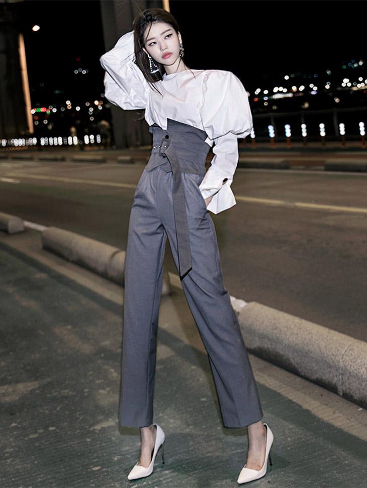 P1921双捏高腰宽松长裤短裤