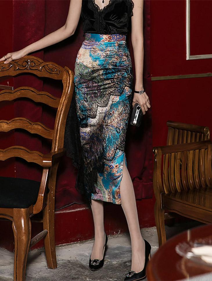 SK9011女士图案混合蕾丝裙子