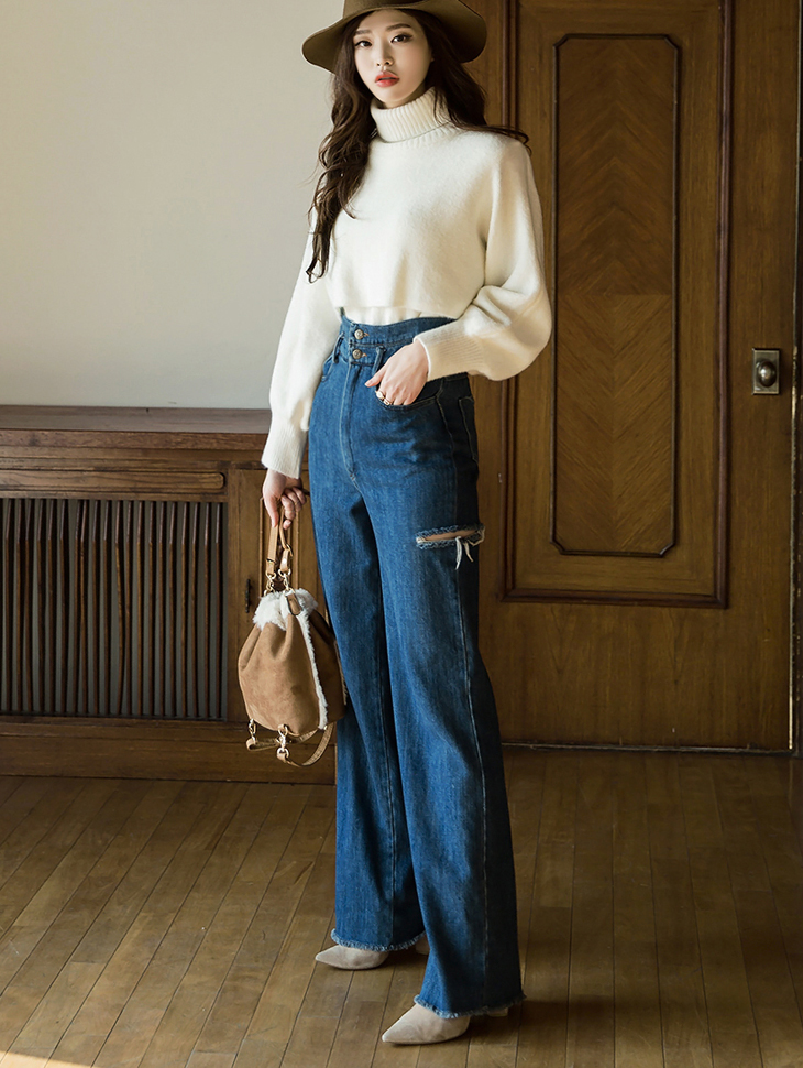 PJ358 双扣修身长版牛仔裤
