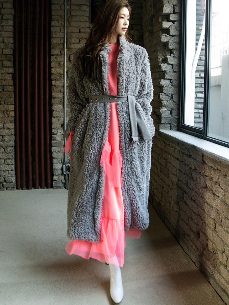 J502 多色舒适长版毛料大衣 (腰带组合)