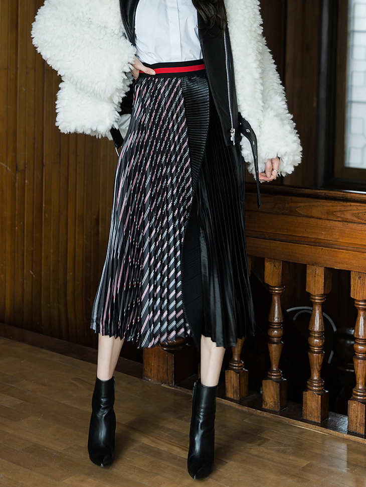 SK1830 长版图纹溷合百褶裙