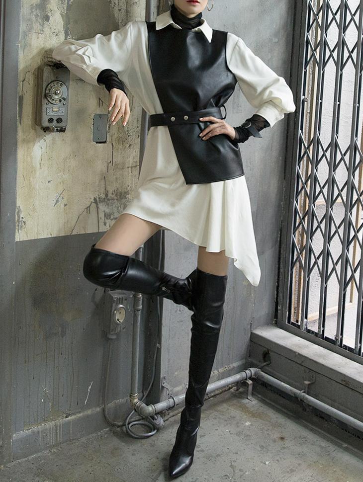 D3719冬青皮衬衫连身裙(马甲&腰带套装)(18进货)