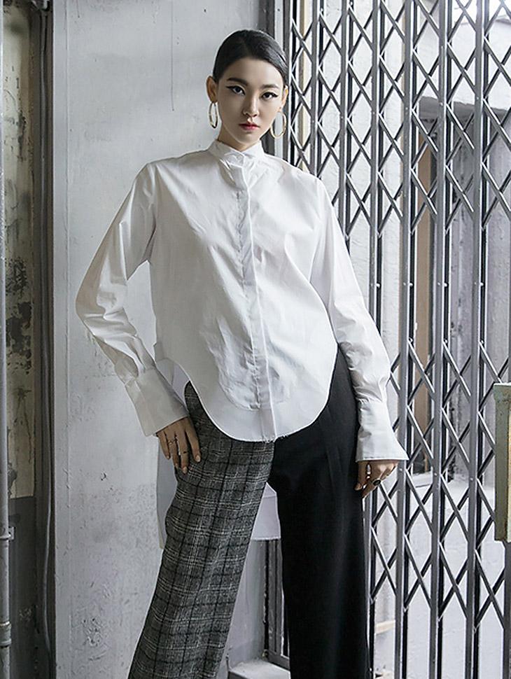 S279 圆领不规则中国式衬衫