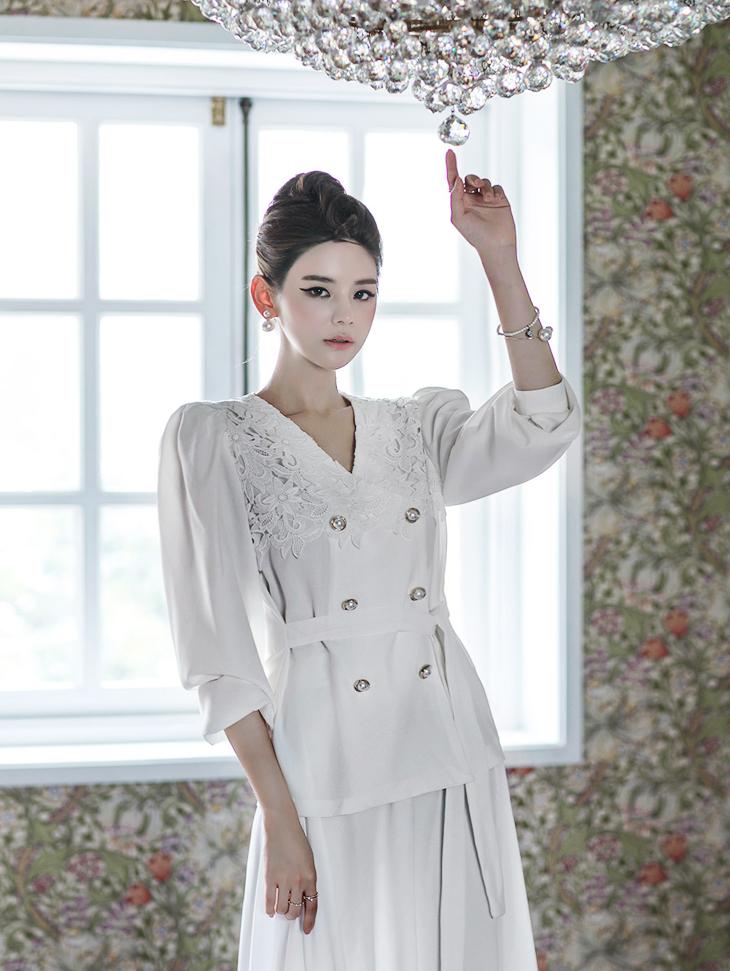 B2300蕾丝双珍珠扣女士衬衫(15号重新收纳)