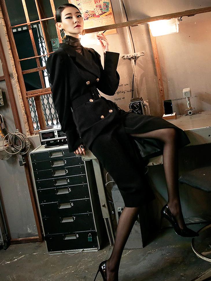 D3718 金色合身连身裙 (腰带组合) (可当大衣着用)