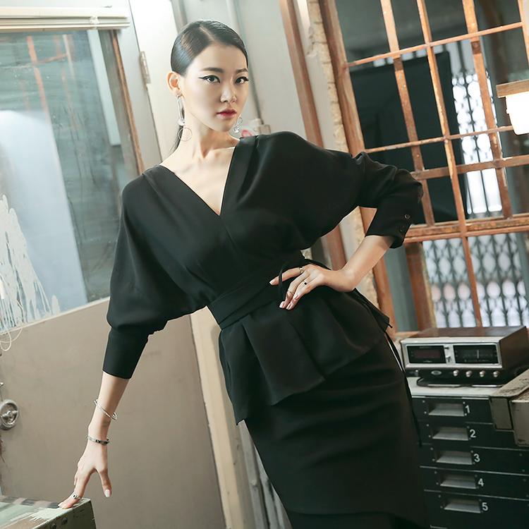 B2356奢华裙v pin tuck woman衬衫(腰带套)(第三库存储存库)