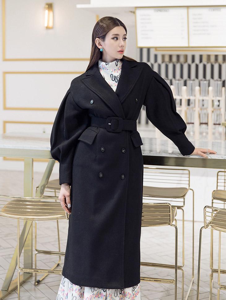 J495 双尖领大衣 (腰带组合) (也能做以连身裙穿搭)