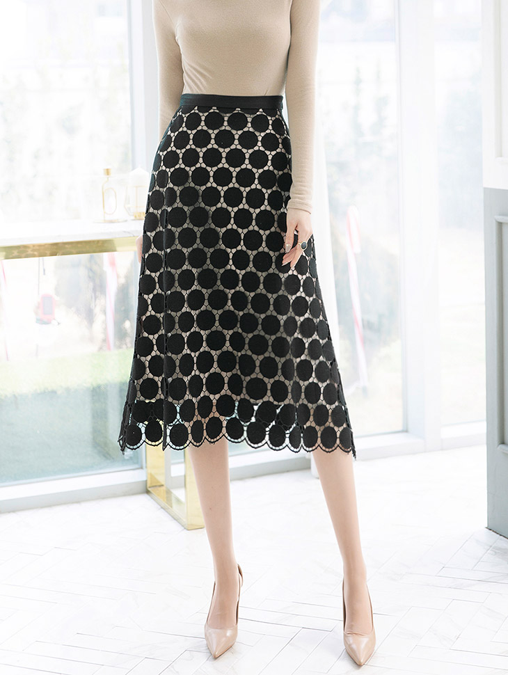SK1835 圆形刺绣半身裙