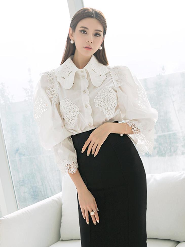 B2363泡泡袖套印花女衬衫(15再进货)