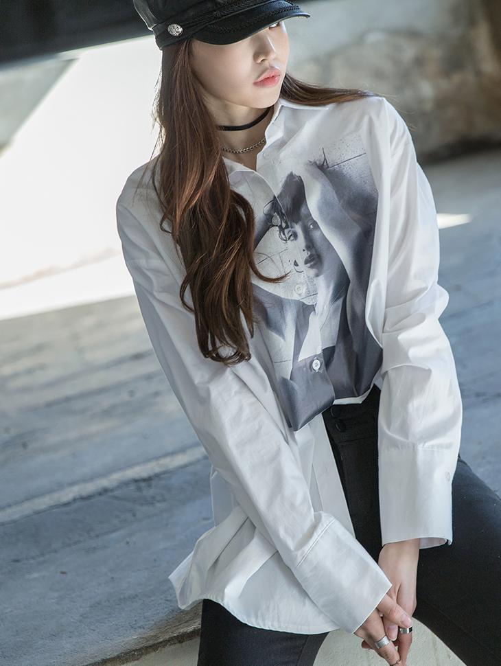 S281 长版宽裕印刷衬衫