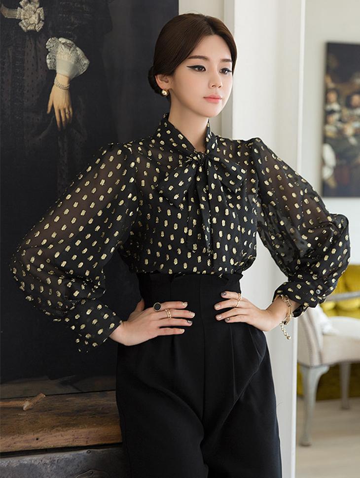 B2367 Hein Kim Chinju围巾女衬衫(第三次重新订购)