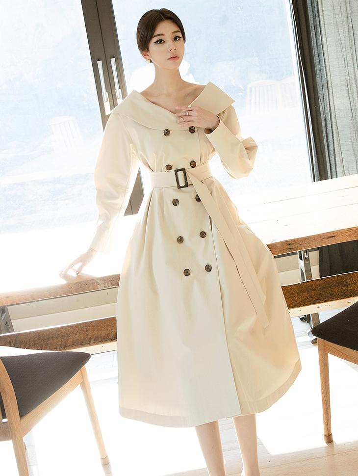 D3732 赫本鬱金香袖连身裙 (腰带组合) (可用以外套着用)