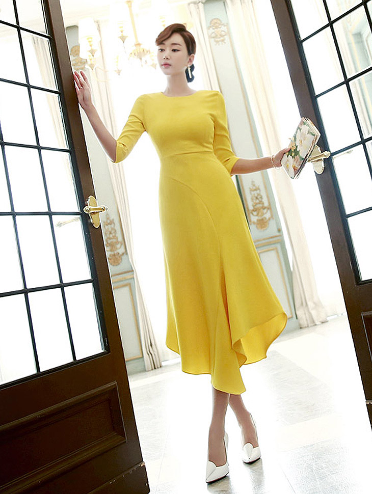 D3226 Chans Ruffle不规则连身裙* L尺码制作*(85进货)