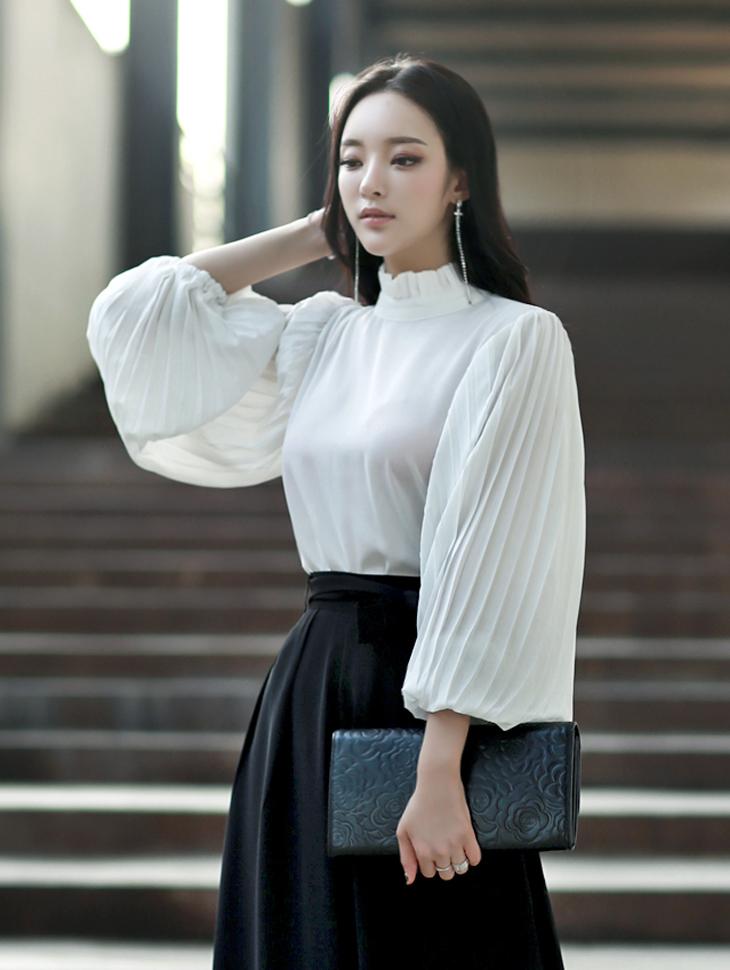 B2058伊娃百折蓬蓬彩色女衬衫(15号重新现货)