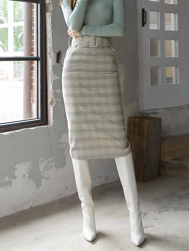 SK1841简单修身线条格子裙子(腰带套)