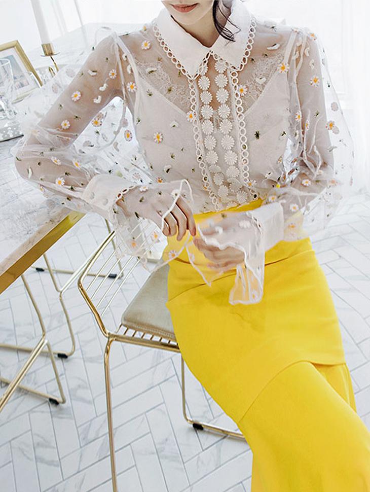 B2168花朵刺绣透明女衬衫(内套)(17号重新收纳)