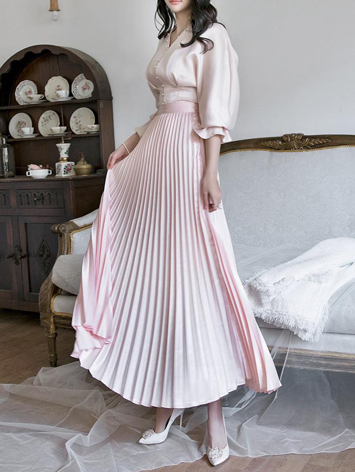 SK1670 高腰百褶长裙 (第12次进货)