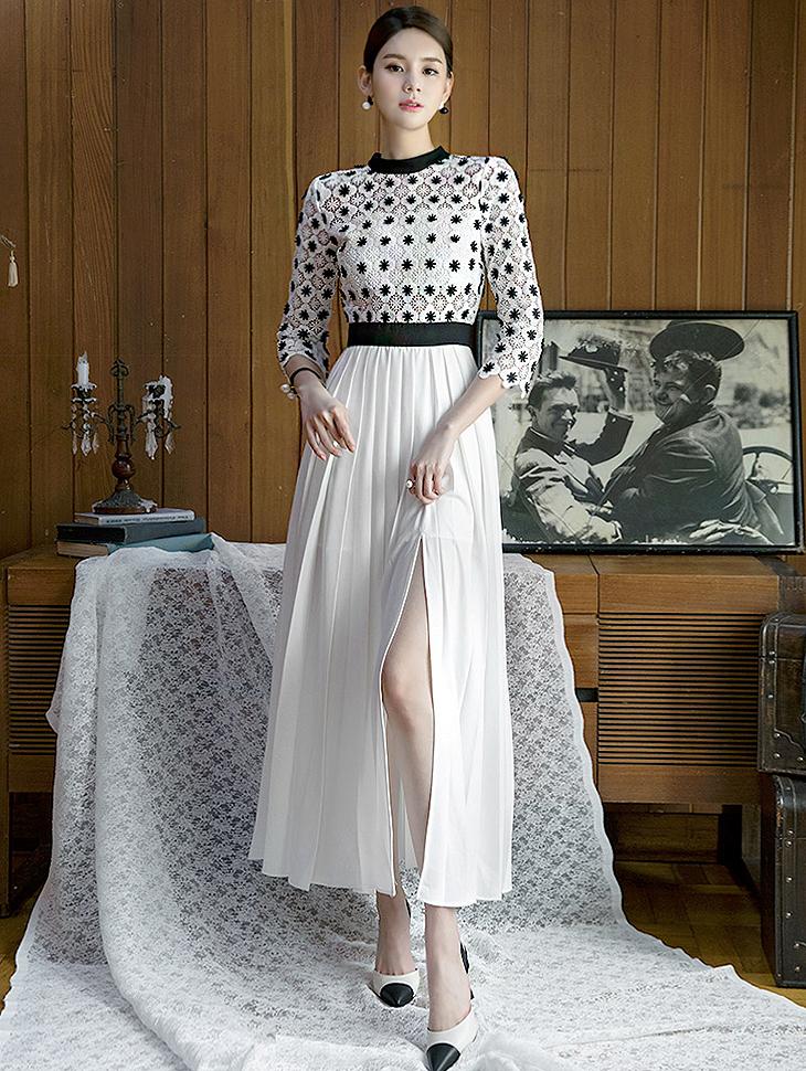 D3536蕾丝花色色百折连身裙(18再进货)