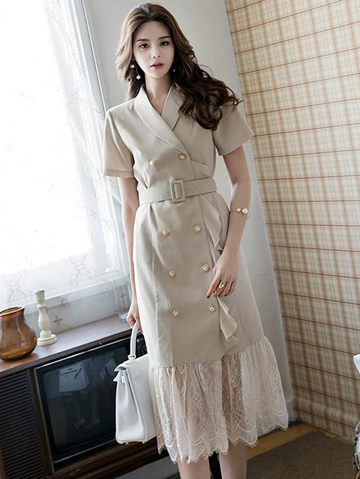 D3553珍珠扣蕾丝连衣裙(腰带套)(18th re-storage)