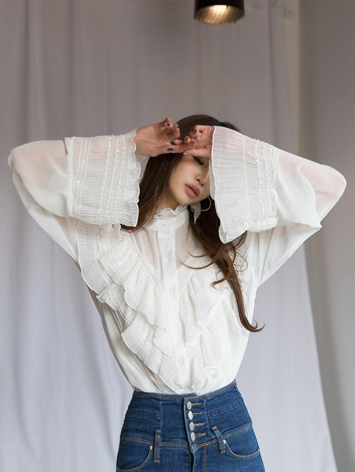 B2376优雅折叠女士衬衫(三阶重新存放)