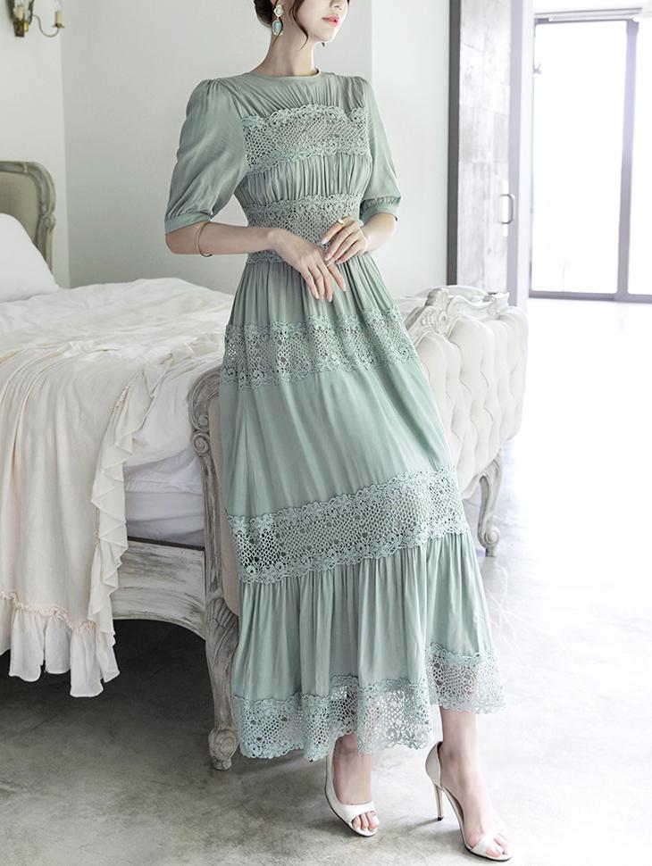 D3578蕾丝重点长版连身裙(33再进货)