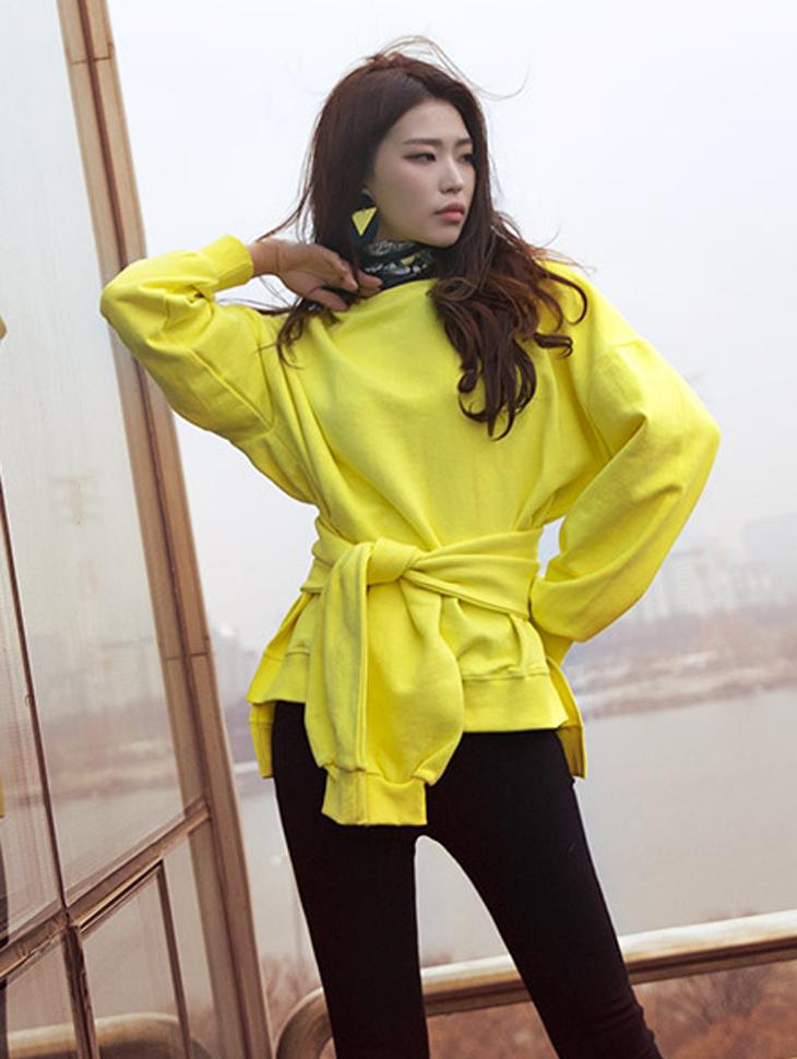 E1908 时尚独特宽鬆上衣 (腰带组合)