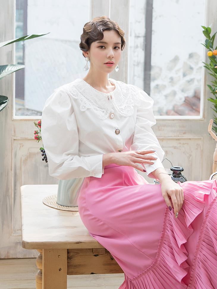 B2381 Cathleen蕾丝领女衬衫(6阶重新储存)(生产期2地址,顺序发送时间表)