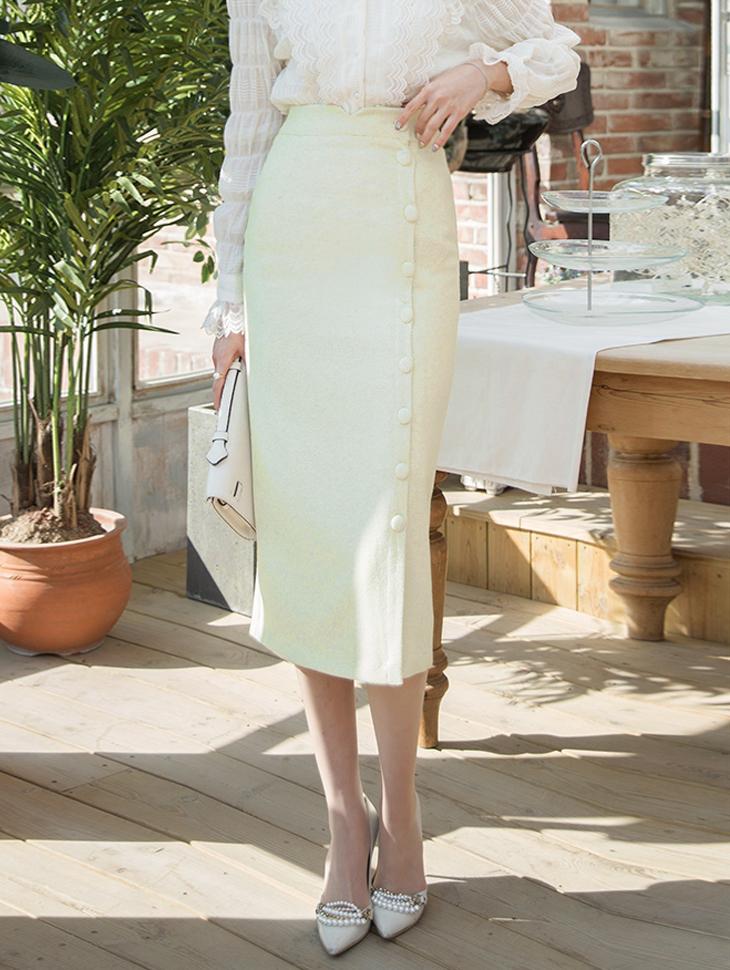 SK1846 Delmar长版Poin钮扣裙子*黄色混合,粉色混合,黑色混色*