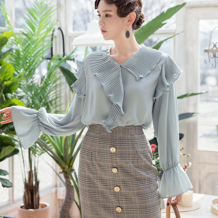 B2379不平衡百折女衬衫(9进货)