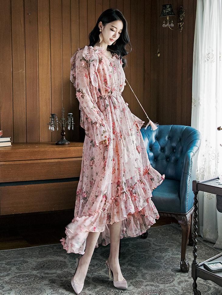 D3492细纹花荷叶边连身裙(衣服,腰带套)(33再进货)