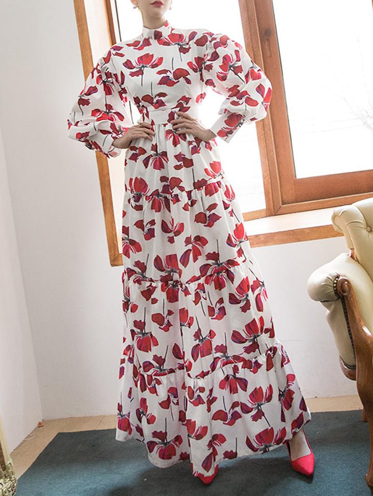 D9055 可爱半高领花朵连身裙