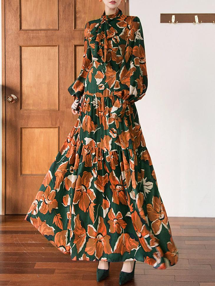 D9048 半高领花朵连身裙
