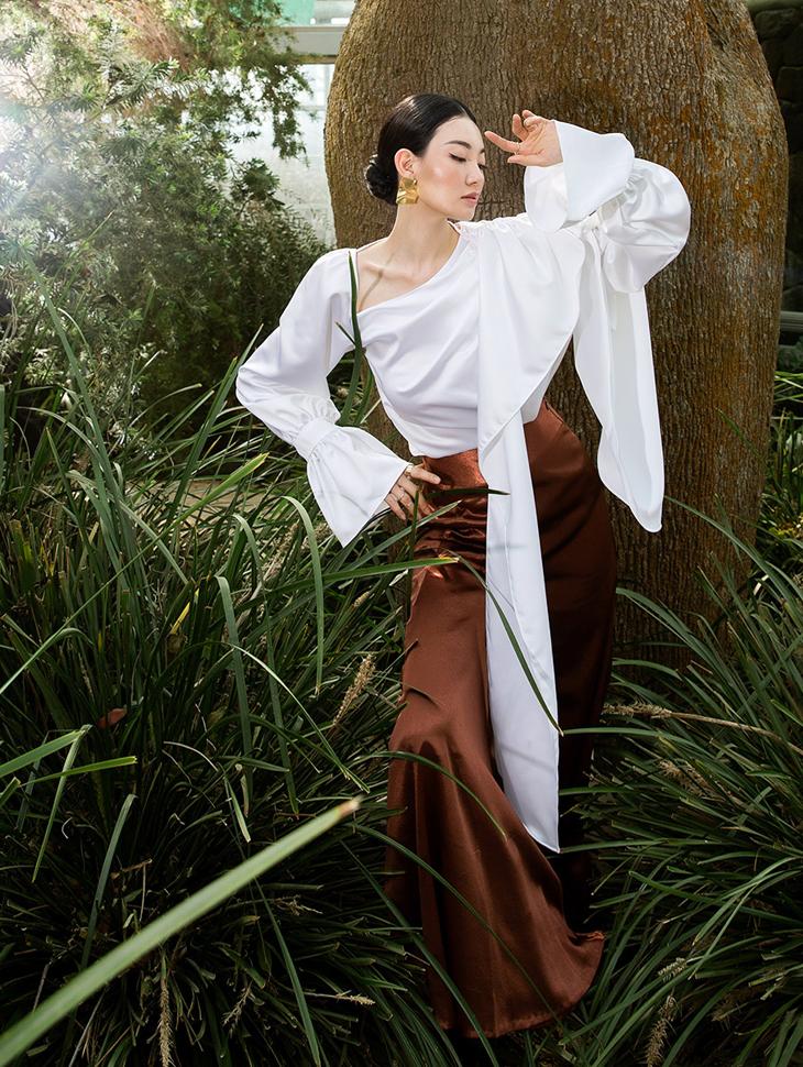 B9023 斜线领巾雪纺纱