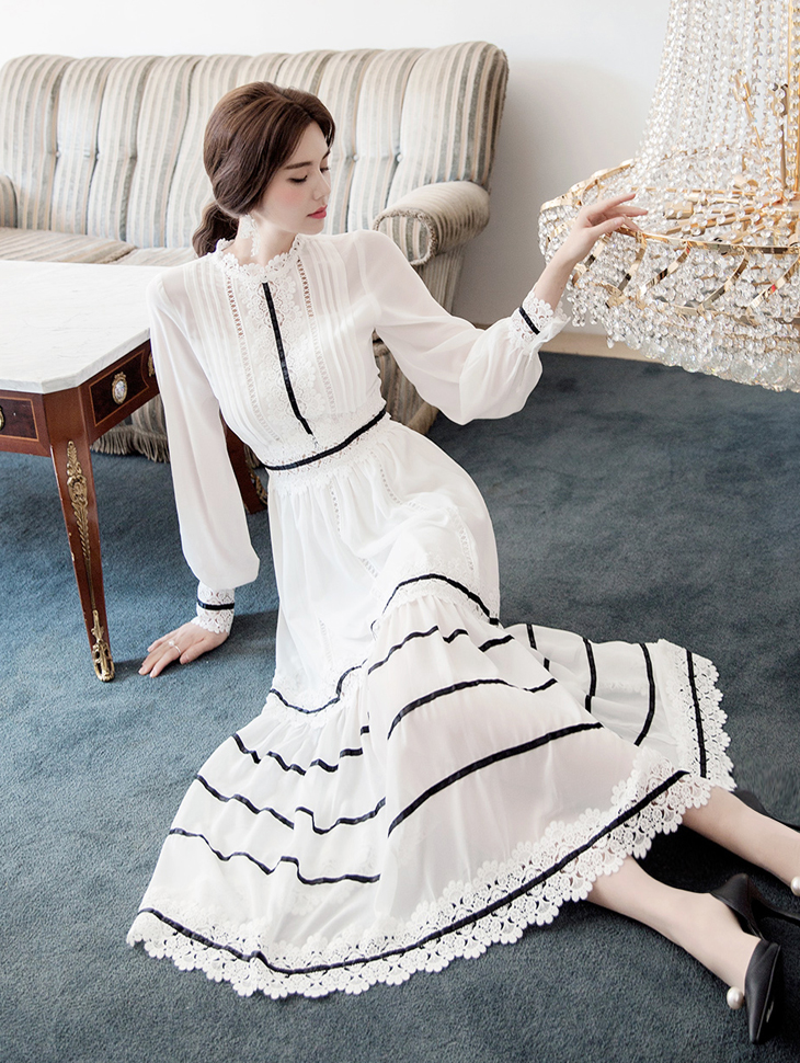 D3756胶带蕾丝长版连身裙(3再进货)
