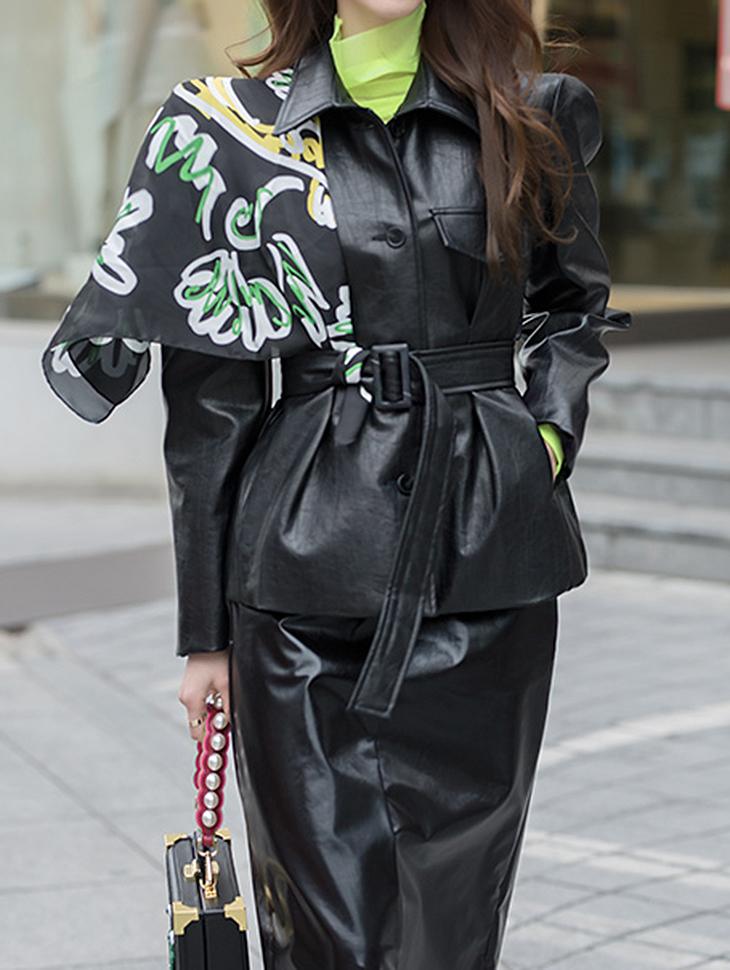 J585 女人味皮革线条夹克 (腰带组合)