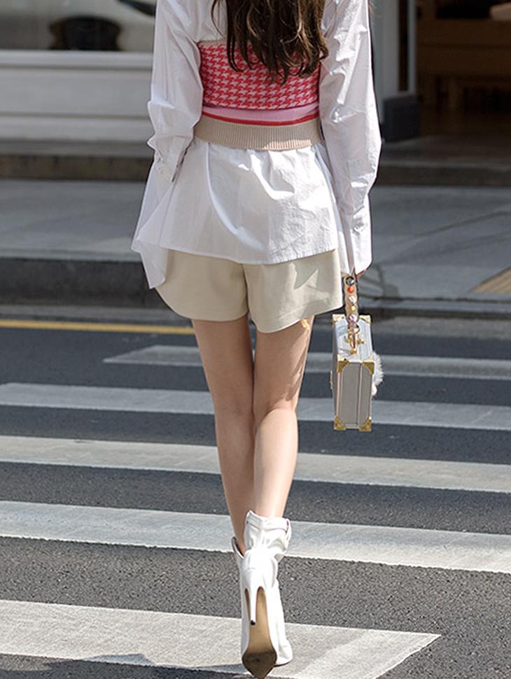 P2011 皮革松紧带短裤