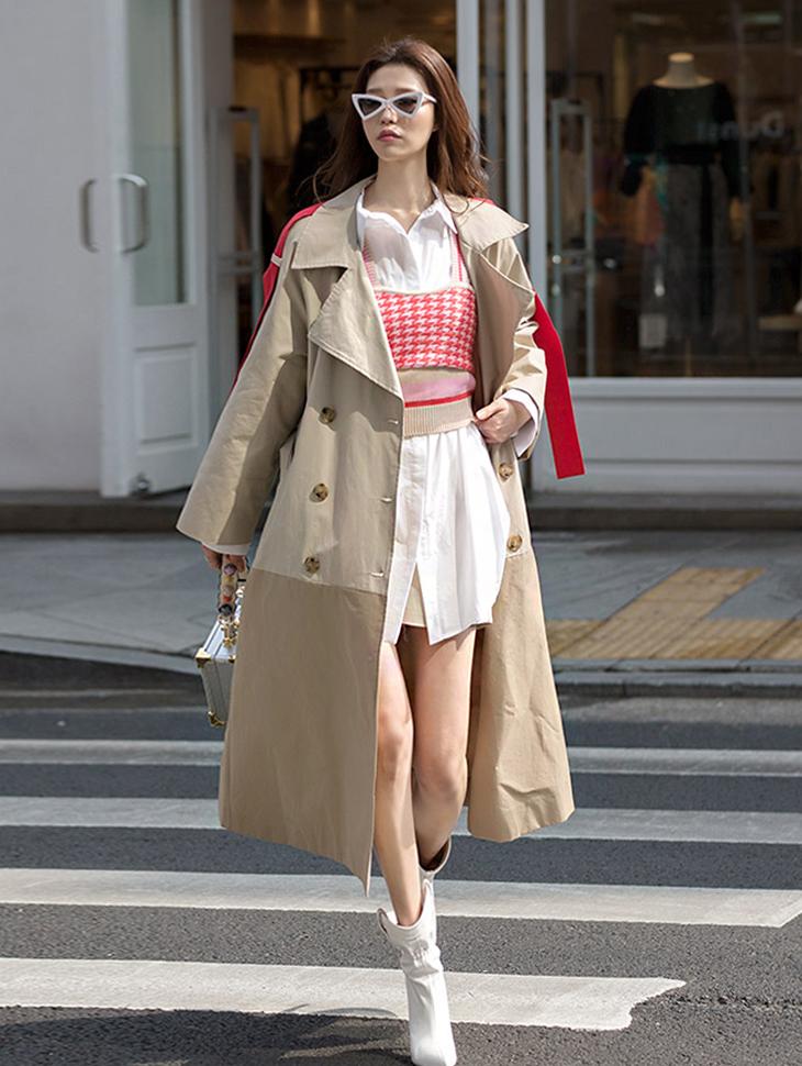 J580季节颜色色色风衣呢子大衣(腰带套)*紫色混搭,米色混色*