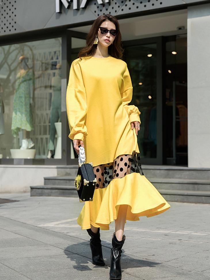 D3760中雪纺圆点长版连身裙(12再进货)