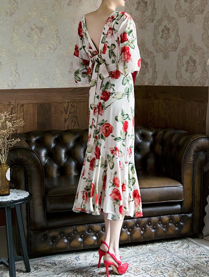 D3534 Bessnick玫瑰波浪团/喇叭裙连衣裙(四阶重股)