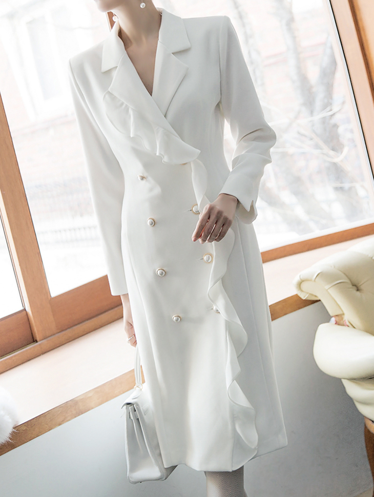 D3702 荷叶边皱褶连身裙 (第20次进货)